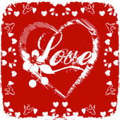 Love card on red background — Stock Photo