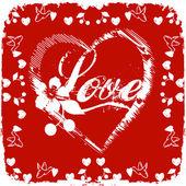 Aşk kartı kırmızı zemin üzerine — Stok fotoğraf