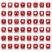 Red and white icons and buttons collection — Stockfoto