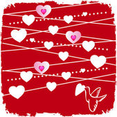 Valentine card with a lot of hearts and bird — Stock Photo