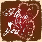 Valentine card with chocolate and vanilla grunge — Stock Photo