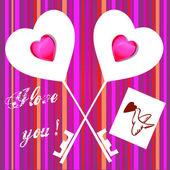 Valentine card on striped background — Foto de Stock