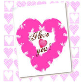 Valentine love card with hearts — Stock Photo