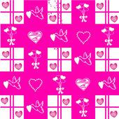 Valentine pattern on pink background — Stock Photo