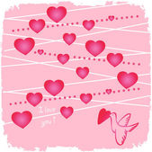 Valentine with hearts and bird on pink — Stock Photo