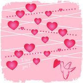 心とピンクの鳥バレンタイン — ストック写真