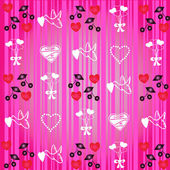 Valentine pattern on striped pink background — Stock Photo
