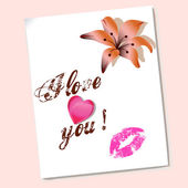 Valentines love with heart and flower — Stock Photo