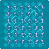 ретро клуб шаблон с бокалами на синем — Стоковое фото