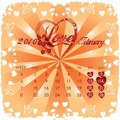 Vintage valentine calendar 2010 — Stock Photo