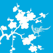 White bird with flowers on blue — Stock Photo