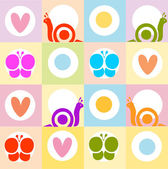Background pattern with snails,hearts and butterflies — Stock Photo
