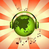 Green earth with music — Stock Photo
