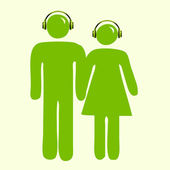Green with headsets — Stock Photo