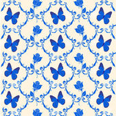 Pattern with blue butterflies — Stock Photo