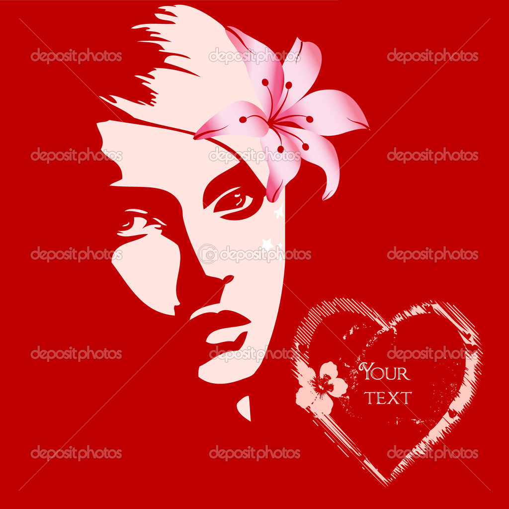 Beautiful valentine girl with flower on red background — Stock Photo #3312203