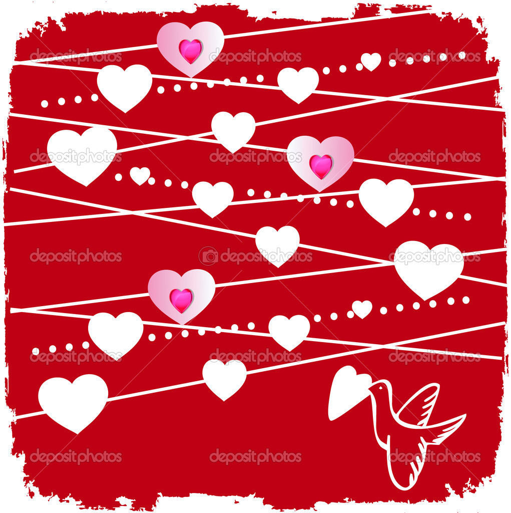Valentine card with bird and a lot of hearts   Stock Photo #3312383