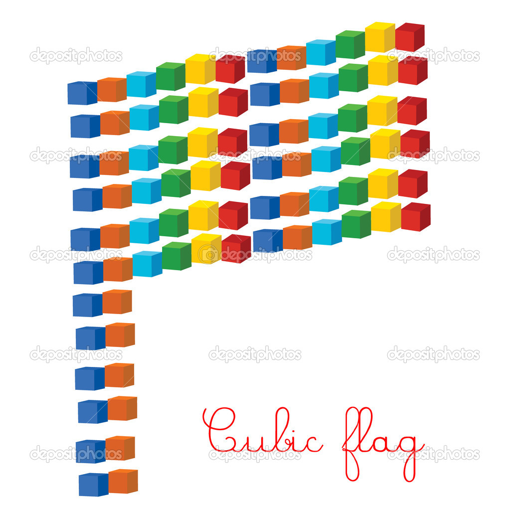 Cubic colored flag  Stock Photo #3313378