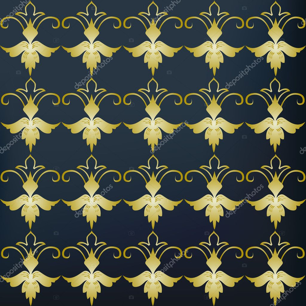 Vintage blue and gold background — Stock Photo © catrinel ...