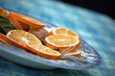 Dried orange and cinammon decoration — Stock Photo