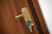 Door handle with keys — Stock Photo