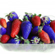 Red and blue strawberries — Stock Photo