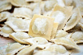 Fresh ravioli closeup. pasta — Stock Photo