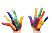 Painted hands in colorful paints — Stock Photo