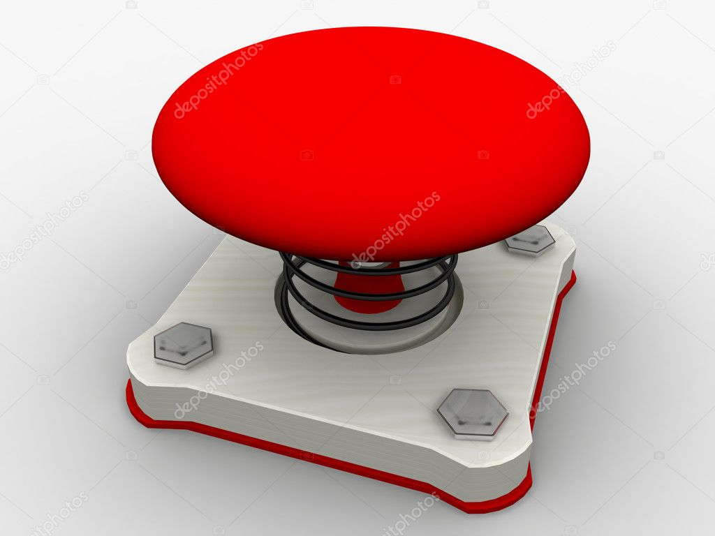 Green start button on a metal platform — Stock Photo #2797886