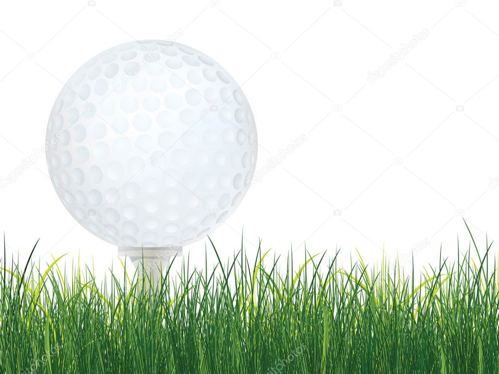 Golf Ball with Grass isolated on white background. Vector. — Stock Vector #2912730