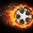 Car Wheel in Flame — Stock Photo