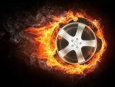 Car Wheel in Flame — Stock Photo