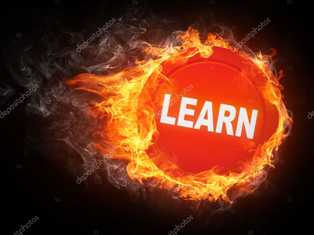 Learn Word in Fire. Computer Graphics. — Stock Photo #3056440