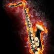 Saxophone in Flame — Stock Photo