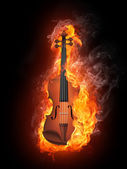 Violin in Fire — Stock Photo