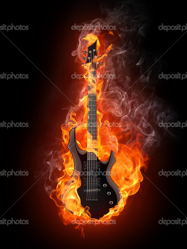 Electric Guitar in fire Isolated on Black Background. Computer Graphics. — Stock Photo #3458241