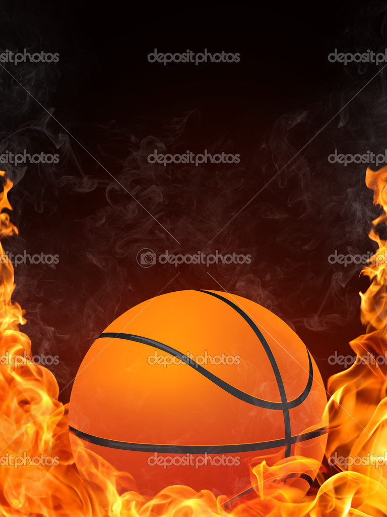 Basketball Ball on Fire. 2D Graphics. Computer Design. — Stock Photo #3527591