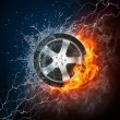 Car Wheel in Flame and Water - Stock Photo