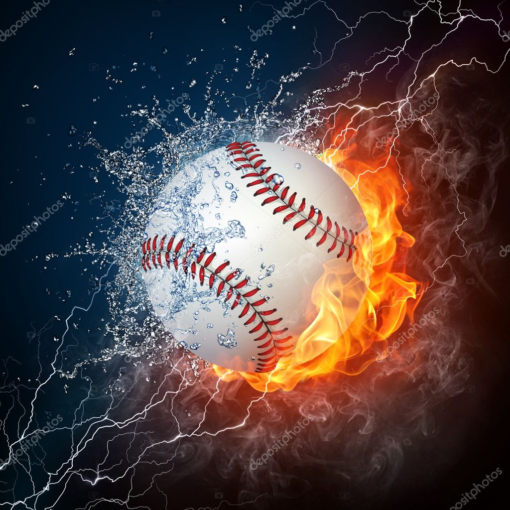 Baseball Ball on Fire and Water. 2D Graphics. Computer Design. — Stock Photo #3768757