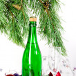 Christmas composition with champagne — Stock Photo