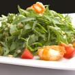 Salad with herbs, vegetables and shrimps — Stock Photo