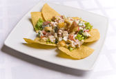 Salad decorated with nachos — Stock Photo