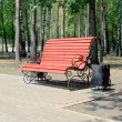 Wet bench in the park — Stock Photo