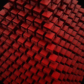 Abstract 3d illustration of red cubes, blocks background — Stockfoto