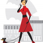 Pretty girl walking the dog — Stock Vector