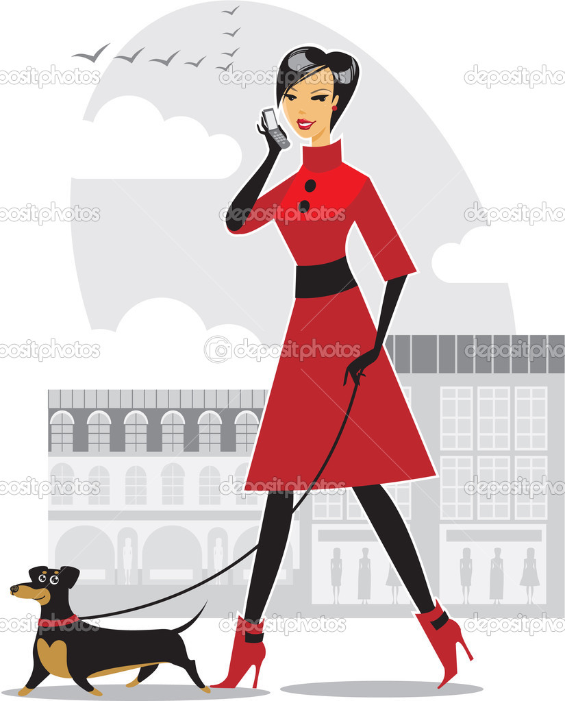 Elegant  girl with her dachshund — Stock Vector #2722193