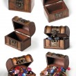 Set of treasure chests - Stock Photo
