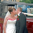 Stock Photo: Kissing in front of Wedding Car