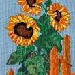 Stock Photo: Embroidery cross - sunflowers, needlework