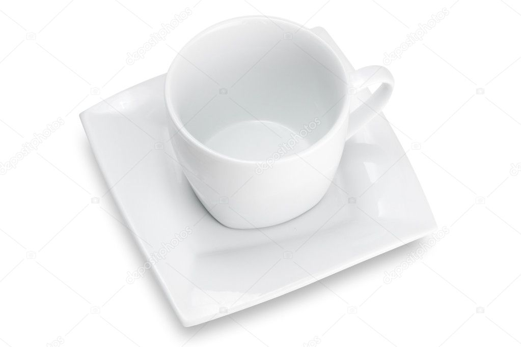 Empty Cup Top : White empty cup with square saucer top view — stock photo